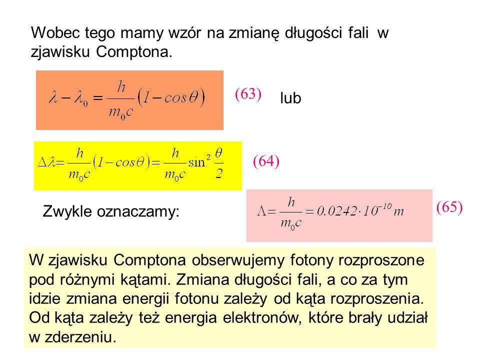 Wobec tego mamy wzór na zmianę długości fali w zjawisku Comptona. W zjawisku Comptona obserwujemy fotony rozproszone pod różnymi kątami. Zmiana długoś