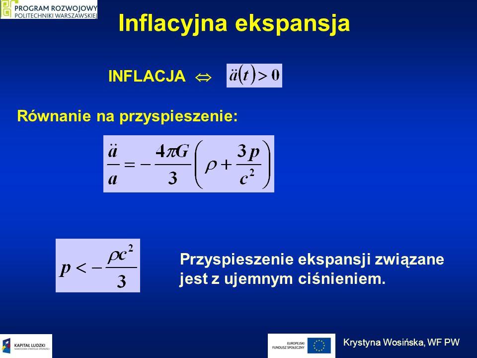 Inflacyjna ekspansja INFLACJA Równanie na przyspieszenie: Przyspieszenie ekspansji związane jest z ujemnym ciśnieniem. Krystyna Wosińska, WF PW