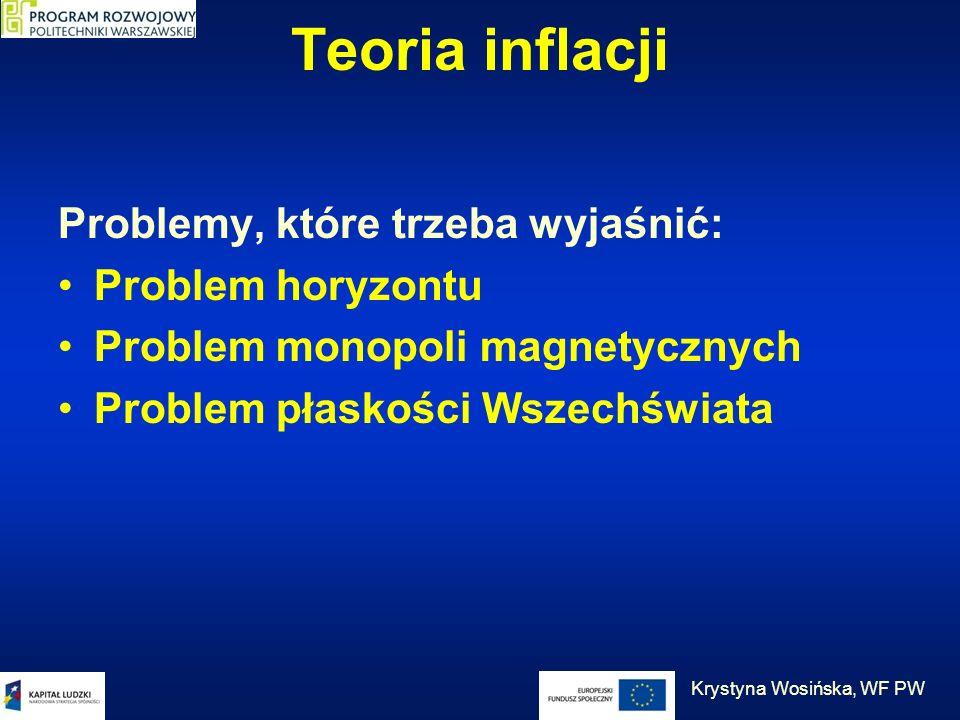 Teoria inflacji Problemy, które trzeba wyjaśnić: Problem horyzontu Problem monopoli magnetycznych Problem płaskości Wszechświata Krystyna Wosińska, WF