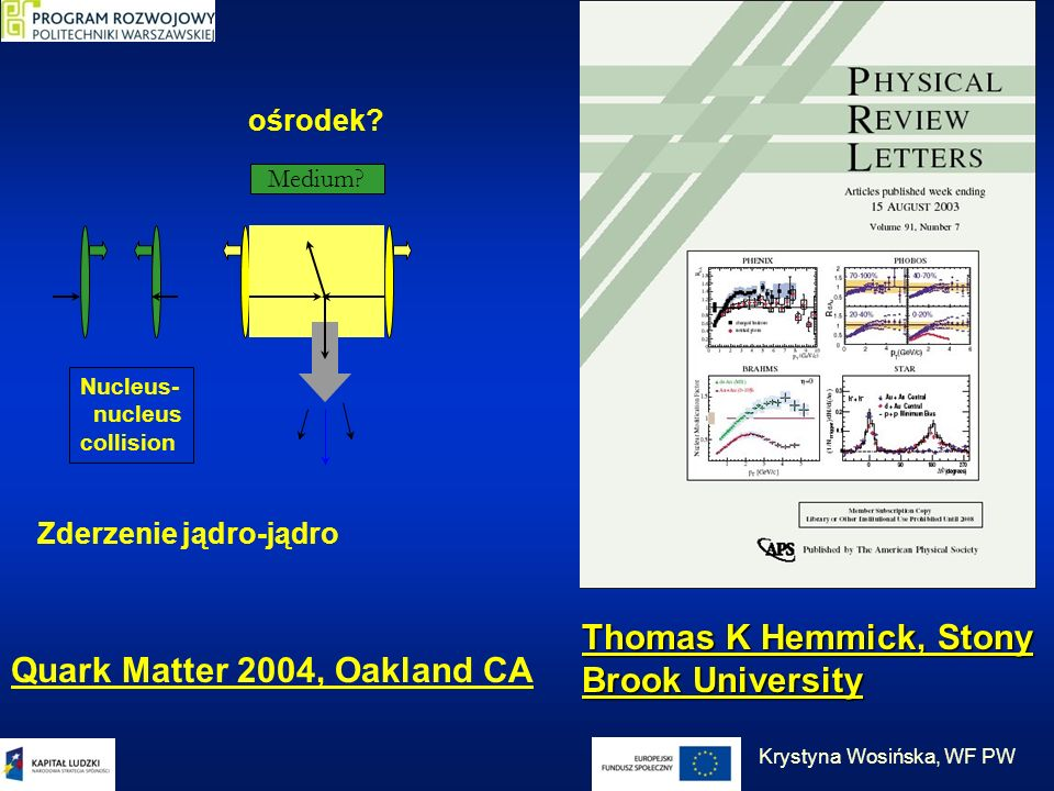 brak ośrodka Zderzenie protonu lub deuteronu z jądrem Nucleus- nucleus collision Proton/deuteron nucleus collision Medium?No Medium! Thomas K Hemmick,