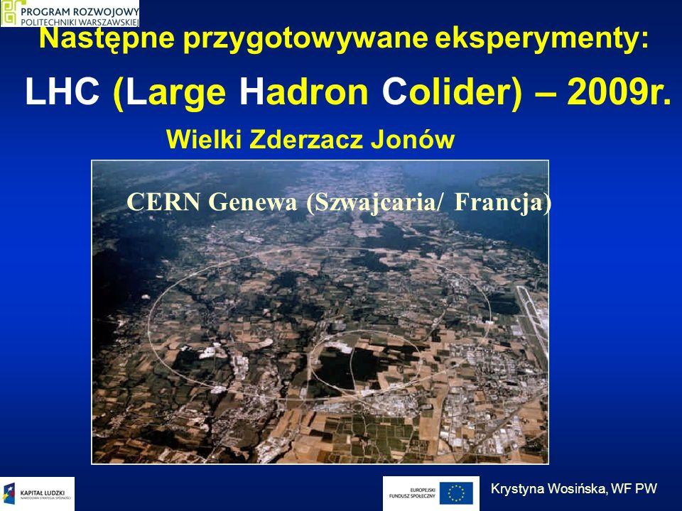 Następne przygotowywane eksperymenty: LHC (Large Hadron Colider) – 2009r. CERN Genewa (Szwajcaria/ Francja) Wielki Zderzacz Jonów Krystyna Wosińska, W