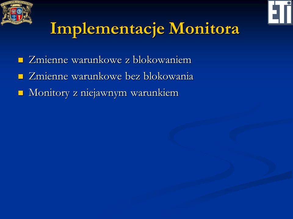 Implementacje Monitora Zmienne warunkowe z blokowaniem Zmienne warunkowe z blokowaniem Zmienne warunkowe bez blokowania Zmienne warunkowe bez blokowan