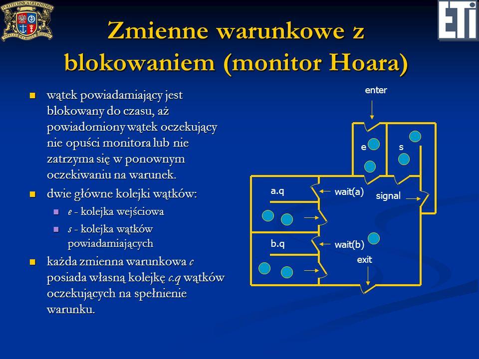 Zmienne warunkowe z blokowaniem (monitor Hoara) wątek powiadamiający jest blokowany do czasu, aż powiadomiony wątek oczekujący nie opuści monitora lub