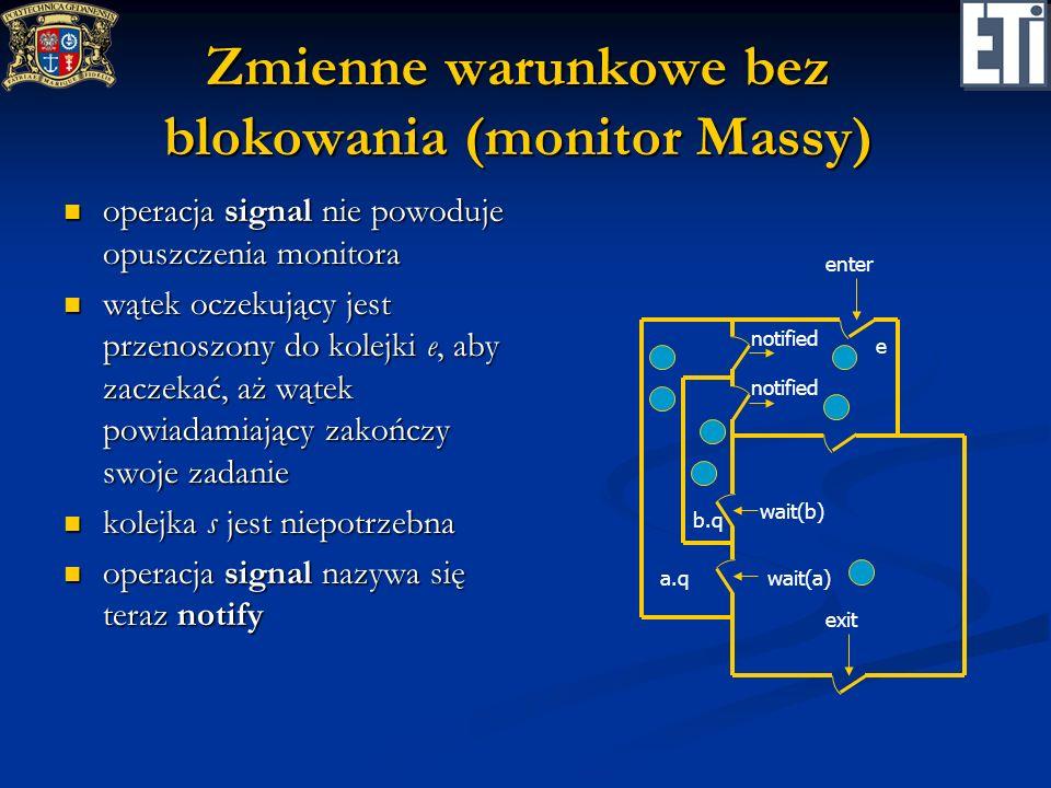 Zmienne warunkowe bez blokowania (monitor Massy) operacja signal nie powoduje opuszczenia monitora operacja signal nie powoduje opuszczenia monitora w