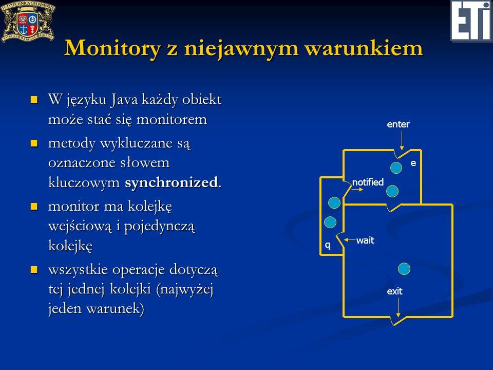 Monitory z niejawnym warunkiem W języku Java każdy obiekt może stać się monitorem W języku Java każdy obiekt może stać się monitorem metody wykluczane