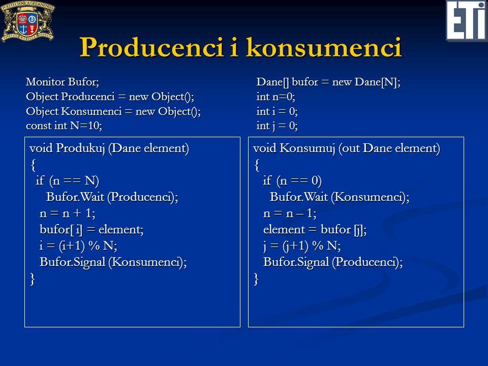 Czytelnicy i pisarze (z możliwością zagłodzenia pisarza) void Początek_Czytania() { if (ile_pisze > 0) if (ile_pisze > 0) Wait (Czytelnicy); Wait (Czytelnicy); ile_czyta++; ile_czyta++;} class Czytelnia: Monitor { Object Czytelnicy = new Object(); Object Czytelnicy = new Object(); Object Pisarze = new Object(); Object Pisarze = new Object(); int ile_czyta = 0; int ile_czyta = 0; int ile_pisze = 0; int ile_pisze = 0; void Koniec_Czytania() { ile_czyta--; ile_czyta--; if (ile_czyta == 0) if (ile_czyta == 0) Signal (Pisarze); Signal (Pisarze);} void Początek_Pisania() { if (ile_czyta + ile_pisze > 0) if (ile_czyta + ile_pisze > 0) Wait (Pisarze); Wait (Pisarze); ile_pisze = 1; ile_pisze = 1;} void Koniec_Pisania() { ile_pisze = 0; ile_pisze = 0; if (!Empty(Pisarze) if (!Empty(Pisarze) Signal (Pisarze) Signal (Pisarze) else else do Signal (Czytelnicy) do Signal (Czytelnicy) while (!Empty(Czytelnicy)) while (!Empty(Czytelnicy))}