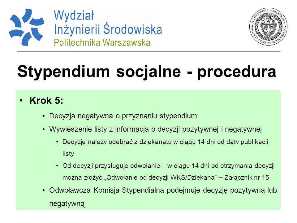 Stypendium socjalne - procedura Krok 5: Decyzja negatywna o przyznaniu stypendium Wywieszenie listy z informacją o decyzji pozytywnej i negatywnej Dec