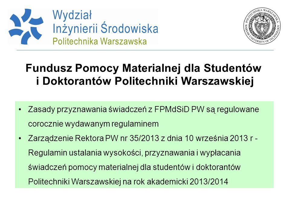 Fundusz Pomocy Materialnej dla Studentów i Doktorantów Politechniki Warszawskiej Zasady przyznawania świadczeń z FPMdSiD PW są regulowane corocznie wy