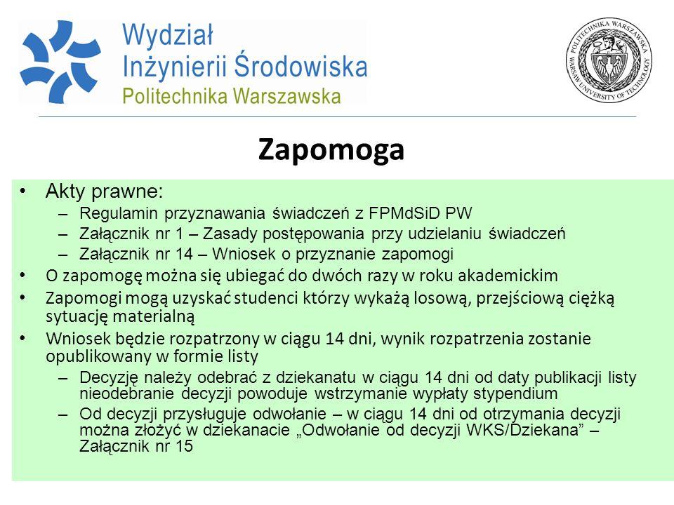 Zapomoga Akty prawne: –Regulamin przyznawania świadczeń z FPMdSiD PW –Załącznik nr 1 – Zasady postępowania przy udzielaniu świadczeń –Załącznik nr 14