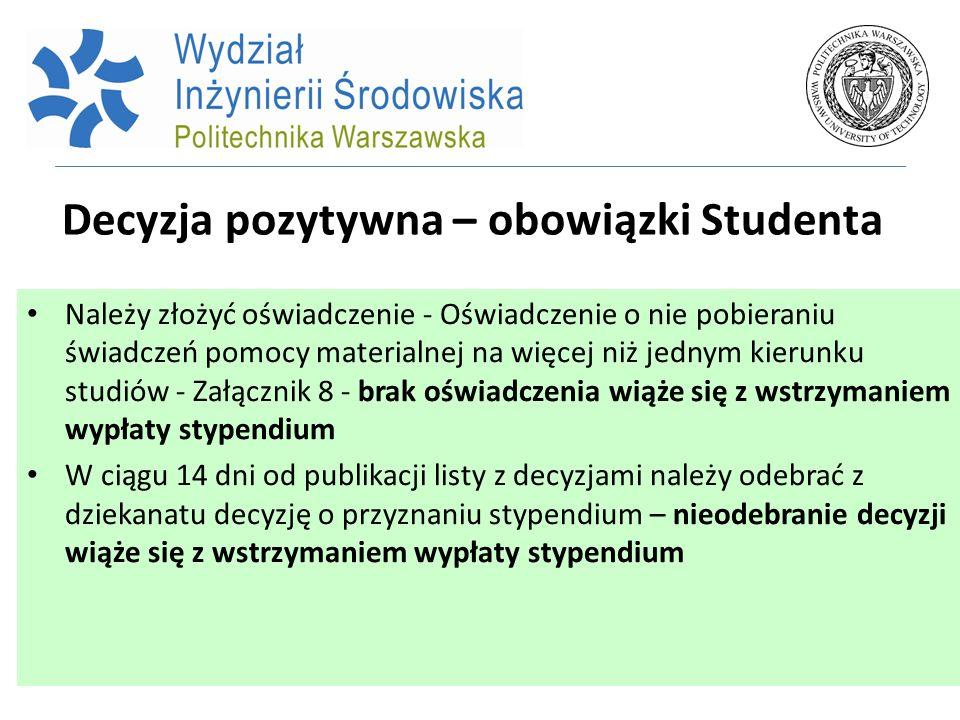 Decyzja pozytywna – obowiązki Studenta Należy złożyć oświadczenie - Oświadczenie o nie pobieraniu świadczeń pomocy materialnej na więcej niż jednym ki