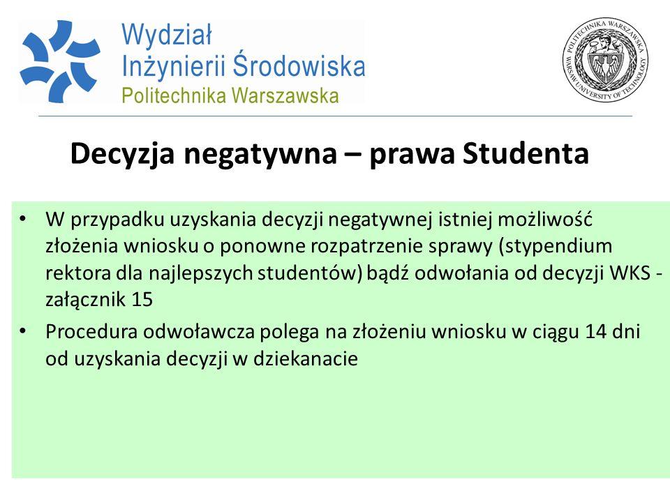 Decyzja negatywna – prawa Studenta W przypadku uzyskania decyzji negatywnej istniej możliwość złożenia wniosku o ponowne rozpatrzenie sprawy (stypendi