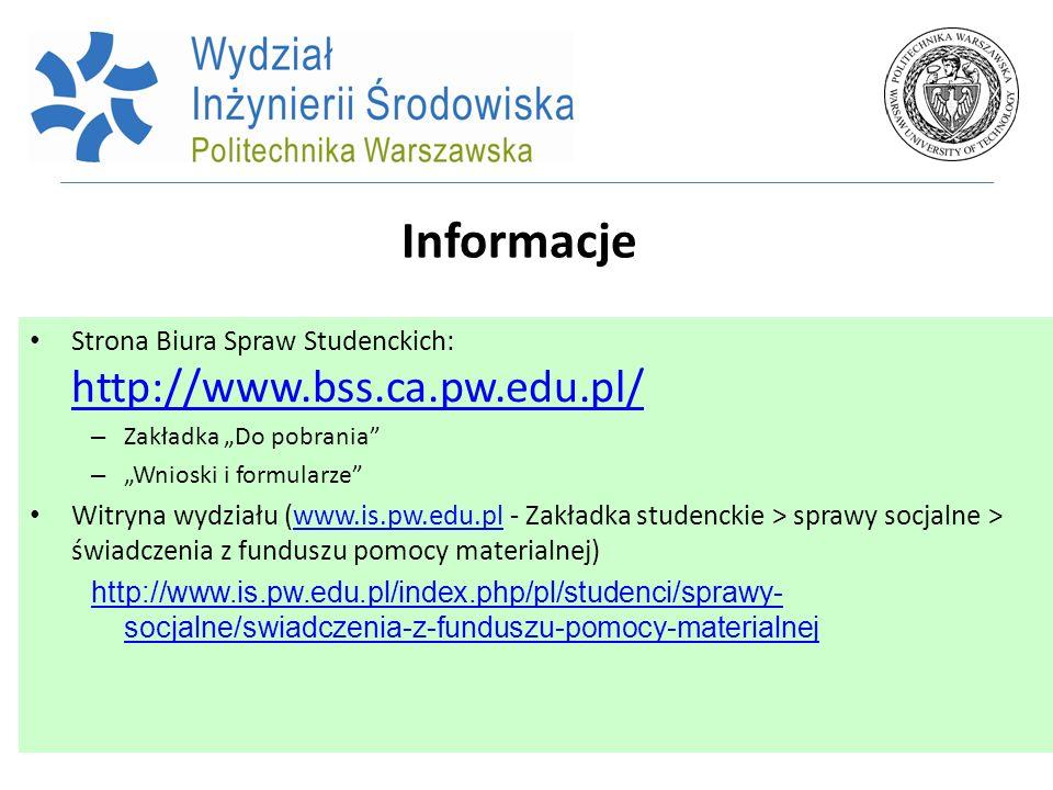 Informacje Strona Biura Spraw Studenckich: http://www.bss.ca.pw.edu.pl/ http://www.bss.ca.pw.edu.pl/ – Zakładka Do pobrania – Wnioski i formularze Wit