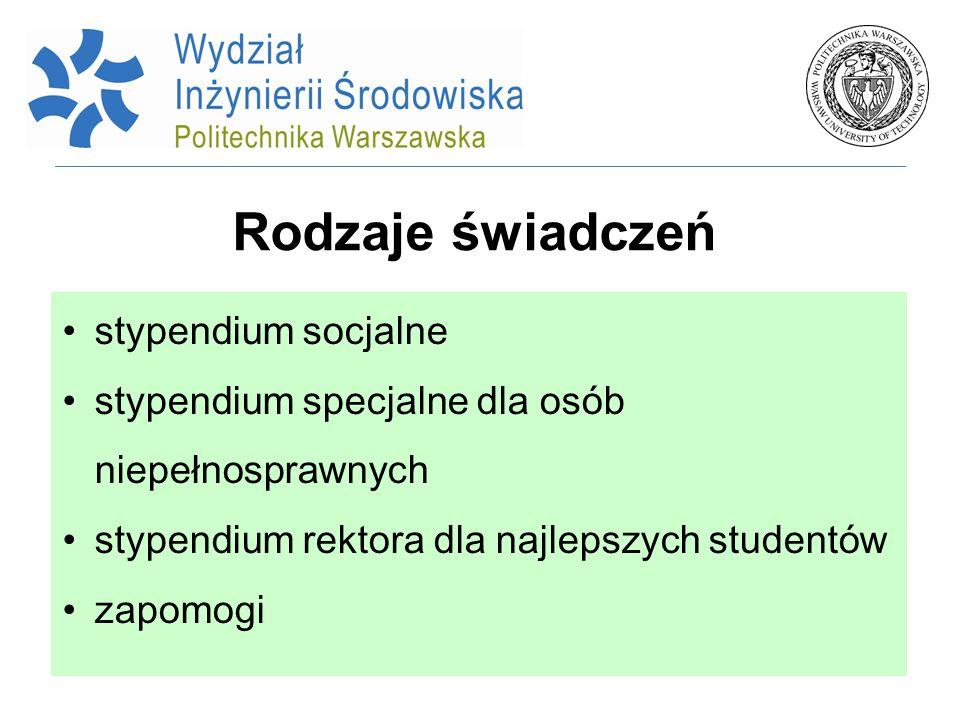 Rodzaje świadczeń stypendium socjalne stypendium specjalne dla osób niepełnosprawnych stypendium rektora dla najlepszych studentów zapomogi