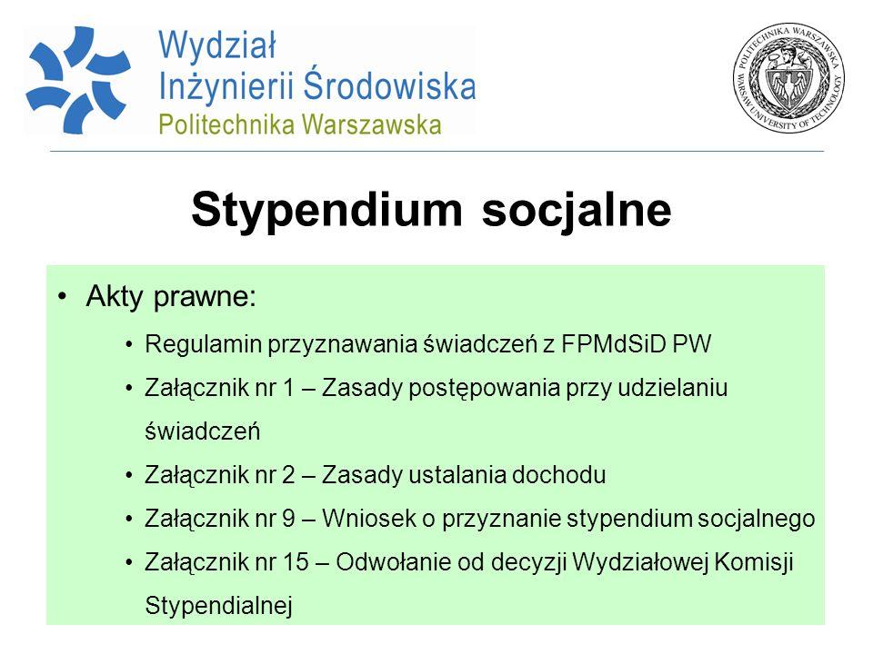 Stypendium socjalne Akty prawne: Regulamin przyznawania świadczeń z FPMdSiD PW Załącznik nr 1 – Zasady postępowania przy udzielaniu świadczeń Załączni
