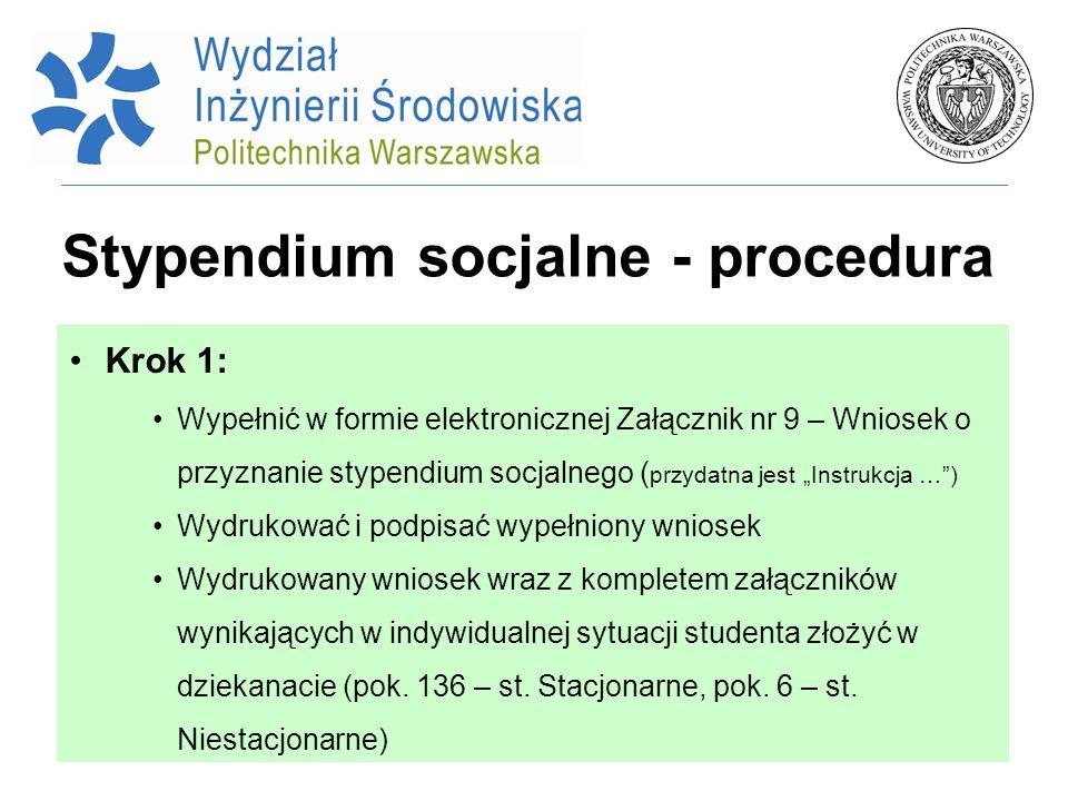 Stypendium socjalne - procedura Krok 1: Wypełnić w formie elektronicznej Załącznik nr 9 – Wniosek o przyznanie stypendium socjalnego ( przydatna jest