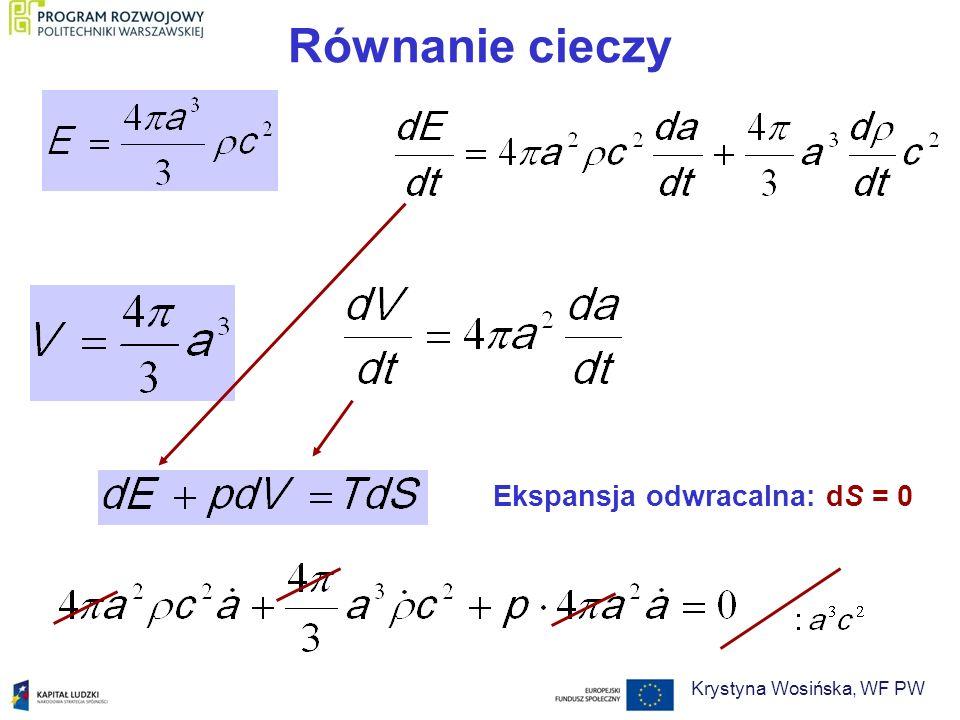 Równanie cieczy Ekspansja odwracalna: dS = 0 Krystyna Wosińska, WF PW
