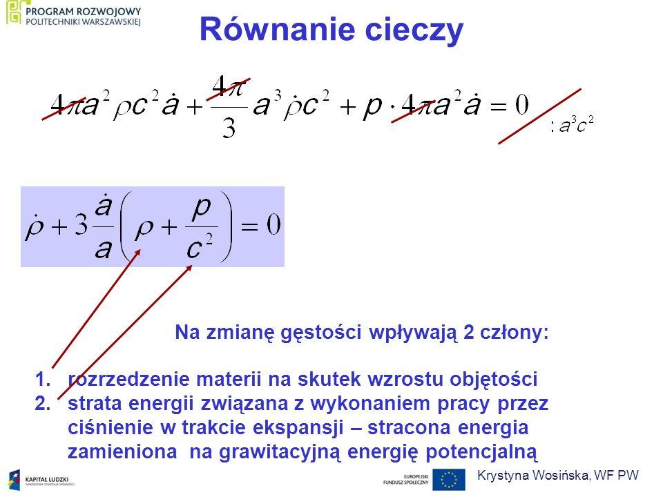 Równanie cieczy Na zmianę gęstości wpływają 2 człony: 1.rozrzedzenie materii na skutek wzrostu objętości 2.strata energii związana z wykonaniem pracy