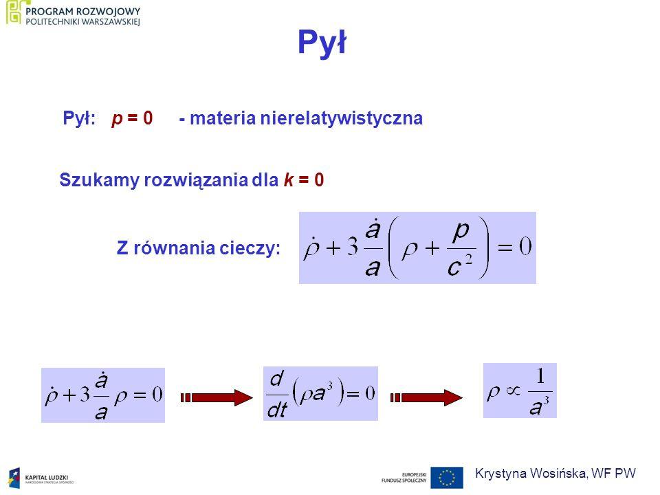 Pył Pył: p = 0 - materia nierelatywistyczna Szukamy rozwiązania dla k = 0 Z równania cieczy: Krystyna Wosińska, WF PW