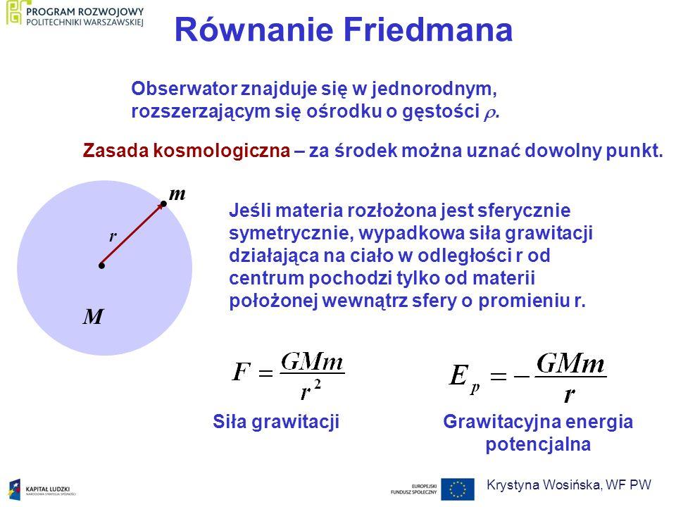 Równanie Friedmana Jeśli materia rozłożona jest sferycznie symetrycznie, wypadkowa siła grawitacji działająca na ciało w odległości r od centrum pocho
