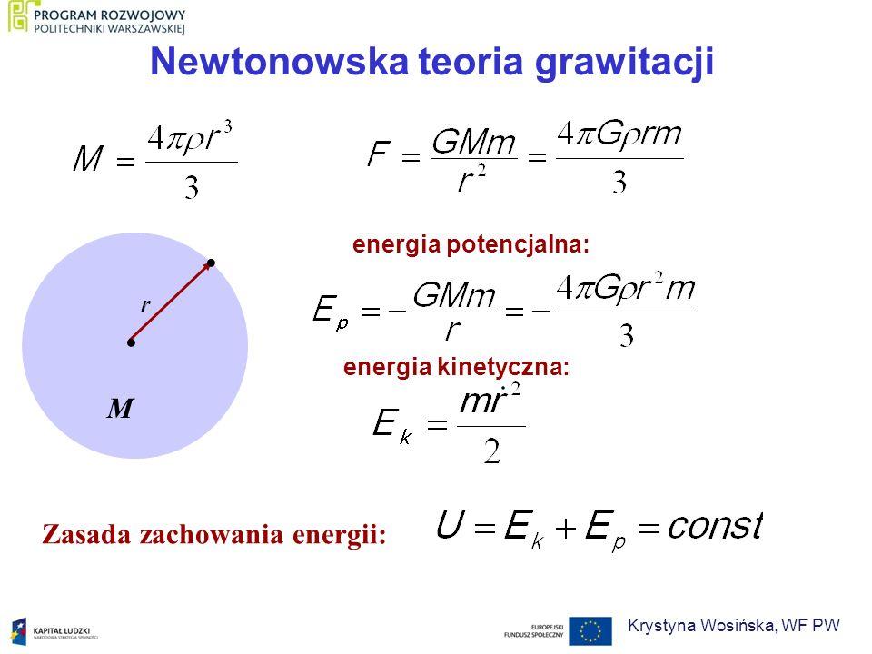 Gęstość krytyczna k – odpowiada wartości k = 0 Jeśli > k, to k > 0, Jeśli < k, to k < 0, Krzywizna zależy od gęstości Wszechświata Równanie Friedmana można przekształcić do postaci: Krystyna Wosińska, WF PW