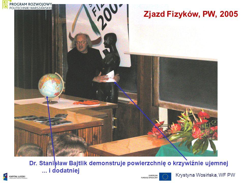 ... i dodatniej Dr. Stanisław Bajtlik demonstruje powierzchnię o krzywiźnie ujemnej Zjazd Fizyków, PW, 2005 Krystyna Wosińska, WF PW