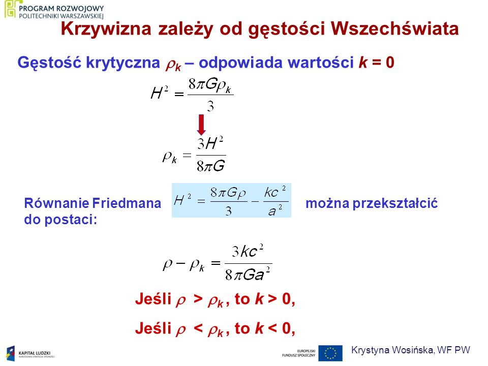 Gęstość krytyczna k – odpowiada wartości k = 0 Jeśli > k, to k > 0, Jeśli < k, to k < 0, Krzywizna zależy od gęstości Wszechświata Równanie Friedmana