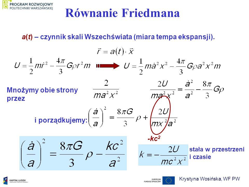 = / k - ten parametr wyznacza przyszłość Wszechświata < 1 > 1 = 1 Jeśli wyznaczymy, odkryjemy przyszłość Wszechświata Krystyna Wosińska, WF PW