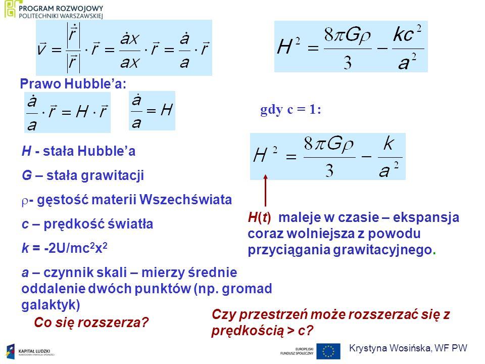 H - stała Hubblea G – stała grawitacji - gęstość materii Wszechświata c – prędkość światła k = -2U/mc 2 x 2 a – czynnik skali – mierzy średnie oddalen