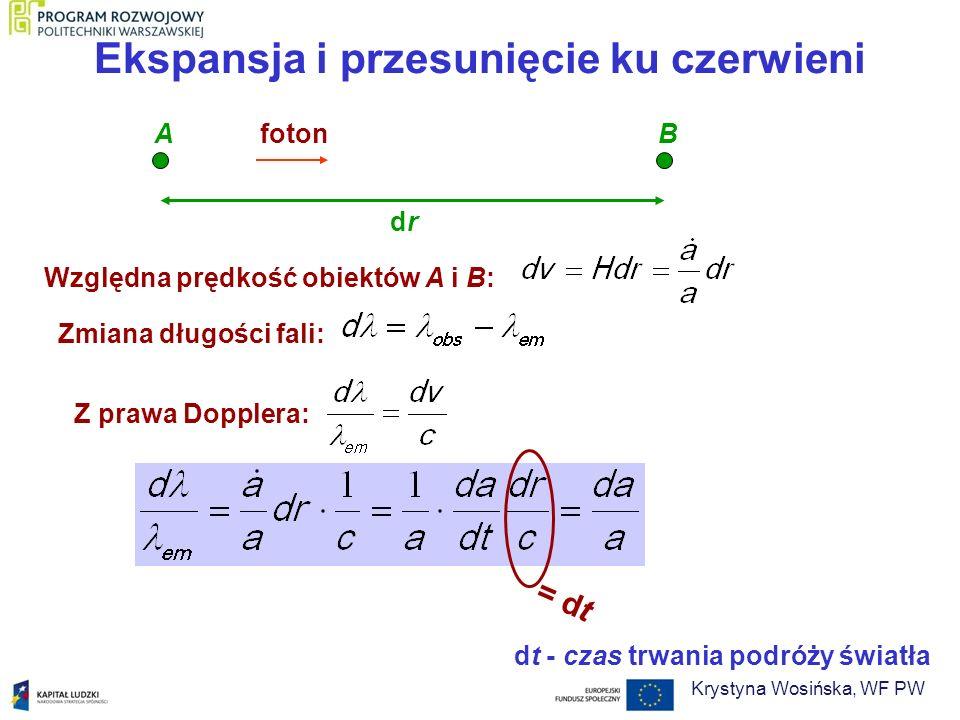 Ekspansja i przesunięcie ku czerwieni fotonAB drdr Względna prędkość obiektów A i B: Zmiana długości fali: Z prawa Dopplera: = dt dt - czas trwania po