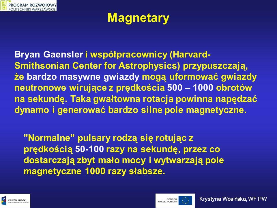 Magnetary Bryan Gaensler i współpracownicy (Harvard- Smithsonian Center for Astrophysics) przypuszczają, że bardzo masywne gwiazdy mogą uformować gwia