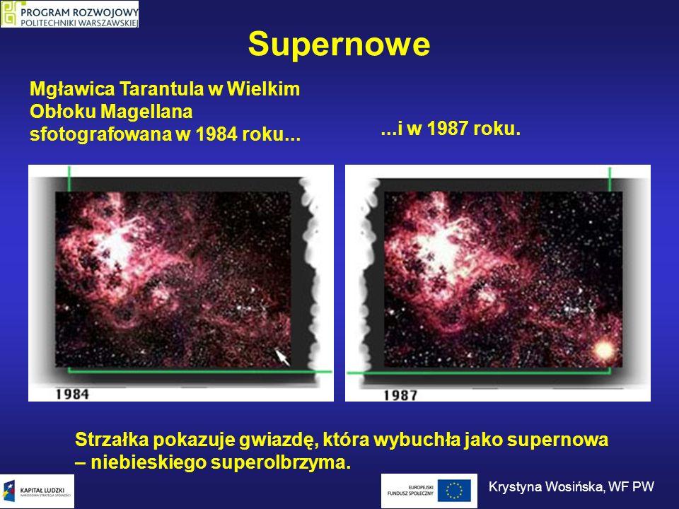 Supernowe Mgławica Tarantula w Wielkim Obłoku Magellana sfotografowana w 1984 roku......i w 1987 roku. Strzałka pokazuje gwiazdę, która wybuchła jako