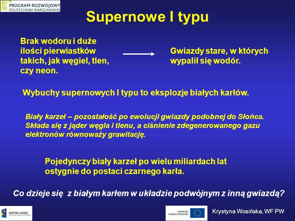 Supernowe I typu Brak wodoru i duże ilości pierwiastków takich, jak węgiel, tlen, czy neon. Gwiazdy stare, w których wypalił się wodór. Wybuchy supern