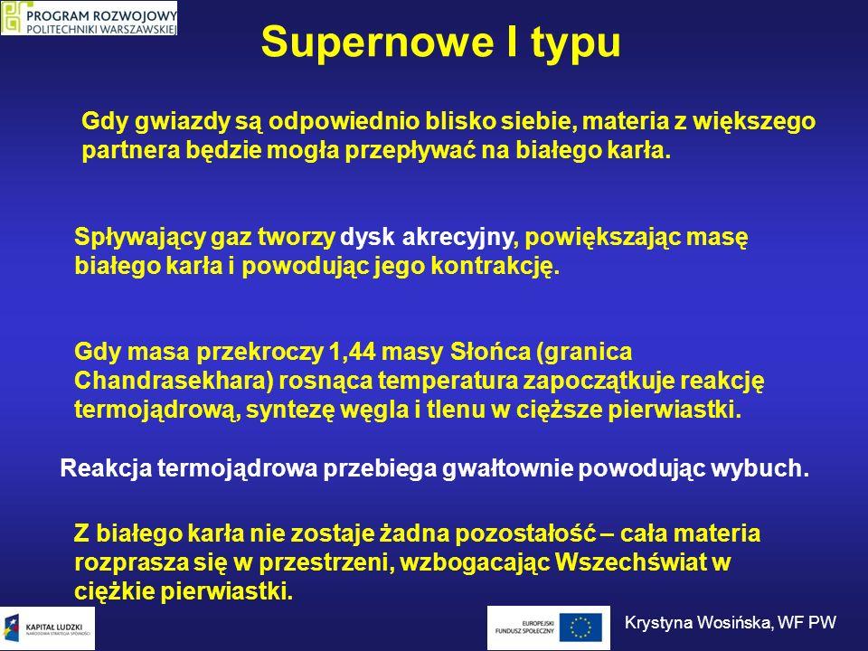 Supernowe I typu Spływający gaz tworzy dysk akrecyjny, powiększając masę białego karła i powodując jego kontrakcję. Gdy gwiazdy są odpowiednio blisko