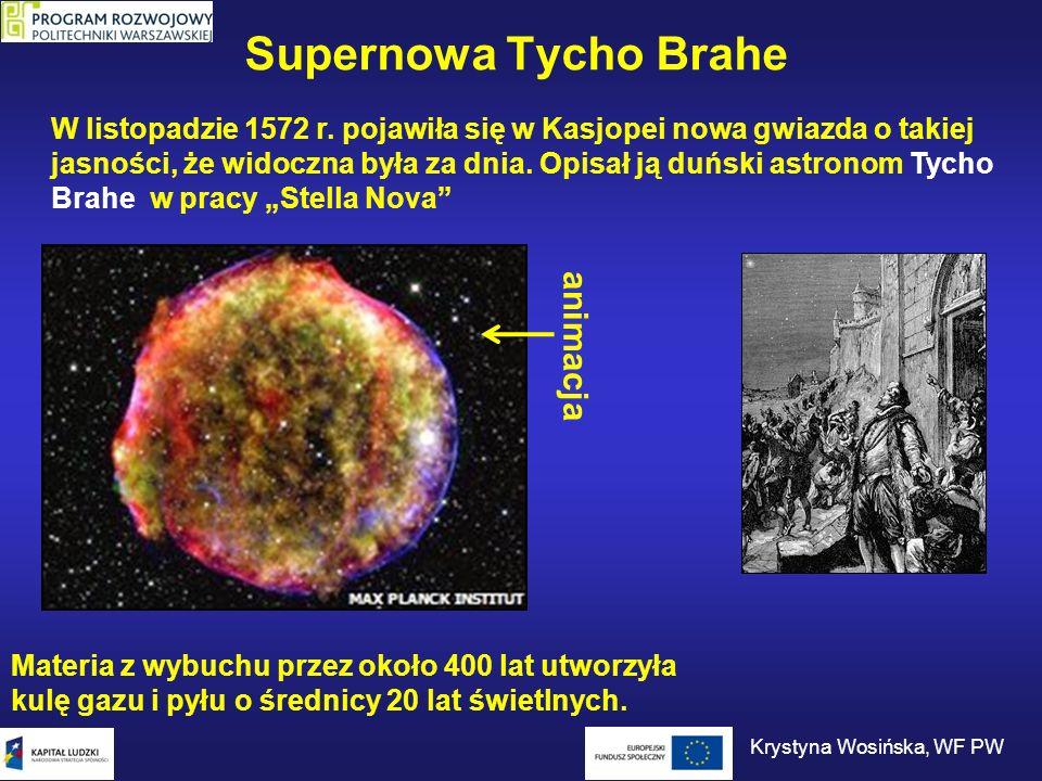 Supernowa Tycho Brahe W listopadzie 1572 r. pojawiła się w Kasjopei nowa gwiazda o takiej jasności, że widoczna była za dnia. Opisał ją duński astrono