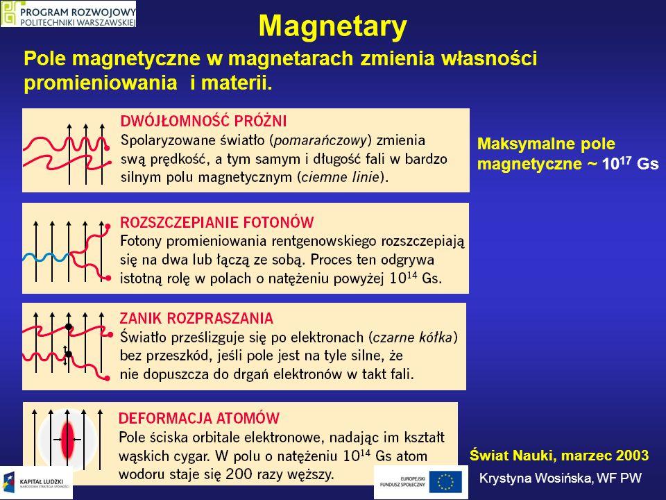 Magnetary Pole magnetyczne w magnetarach zmienia własności promieniowania i materii. Maksymalne pole magnetyczne ~ 10 17 Gs Świat Nauki, marzec 2003 K