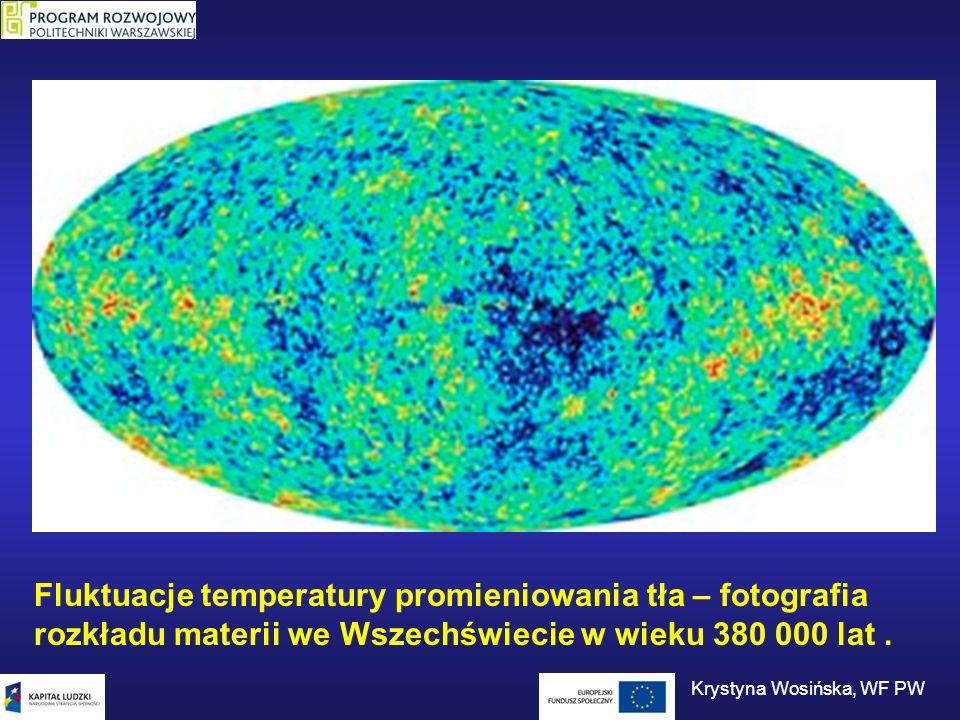 Fluktuacje temperatury promieniowania tła – fotografia rozkładu materii we Wszechświecie w wieku 380 000 lat. Krystyna Wosińska, WF PW