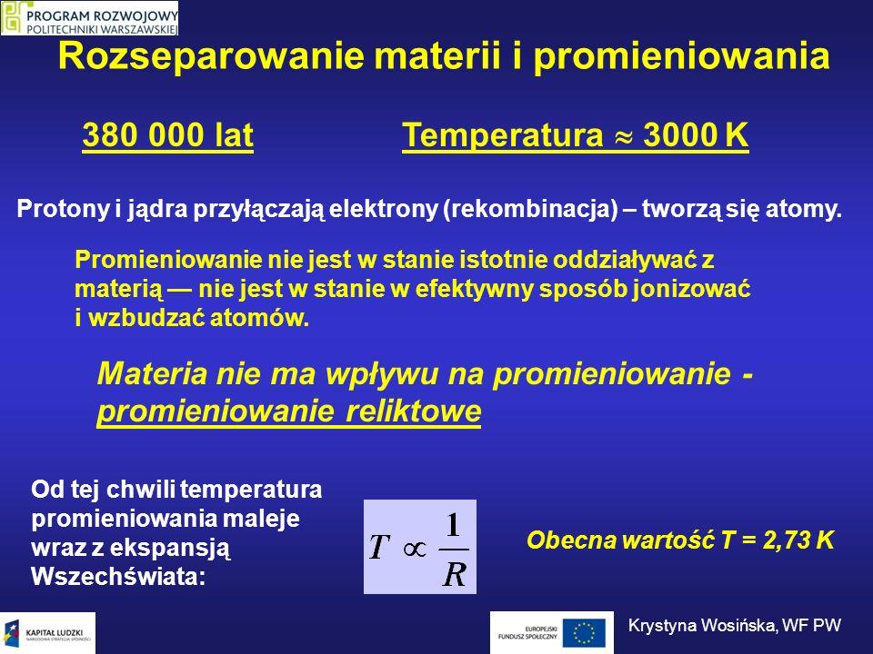 Promieniowanie reliktowe Energia fotonu: Średnia energia fotonu zależy od temperatury: Średnia energia fotonu maleje wraz z temperaturą Długość fali fotonu rośnie temperatura 2,73 K3000 K Krystyna Wosińska, WF PW