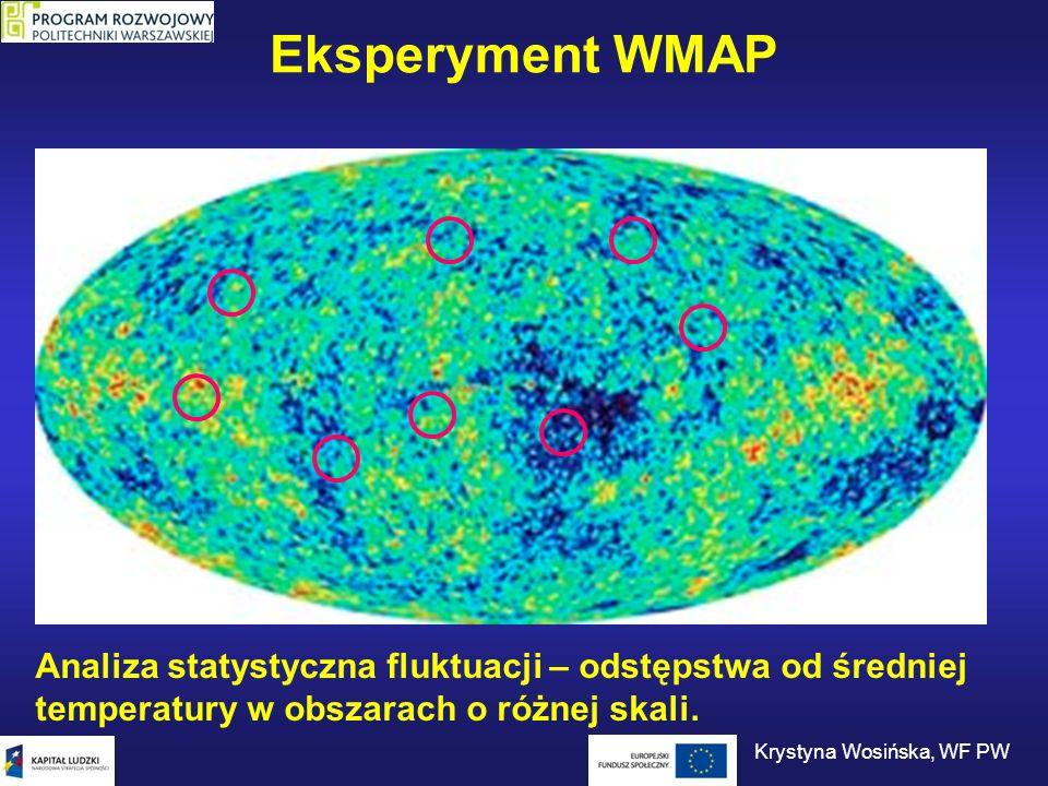 Eksperyment WMAP Analiza statystyczna fluktuacji – odstępstwa od średniej temperatury w obszarach o różnej skali. Krystyna Wosińska, WF PW