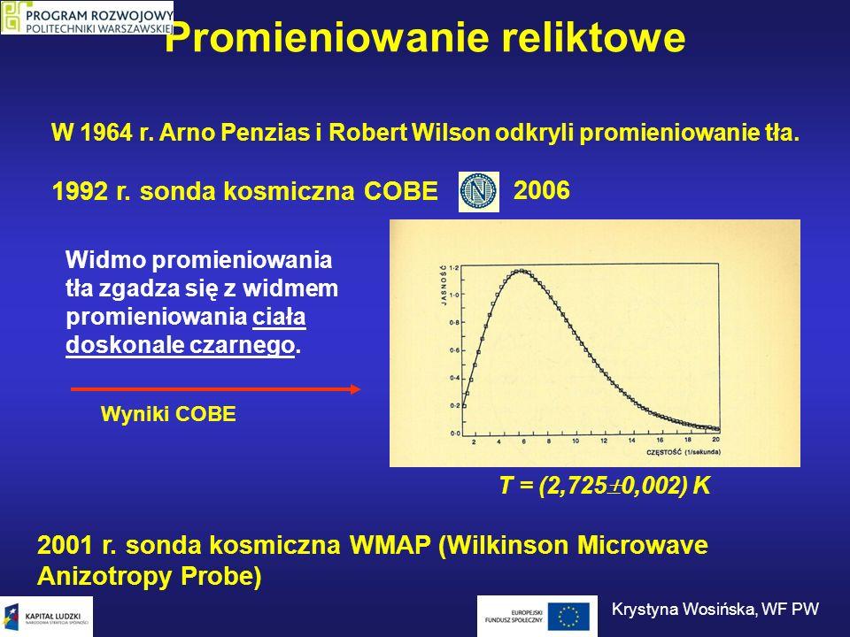 Promieniowanie reliktowe W 1964 r. Arno Penzias i Robert Wilson odkryli promieniowanie tła. 2001 r. sonda kosmiczna WMAP (Wilkinson Microwave Anizotro