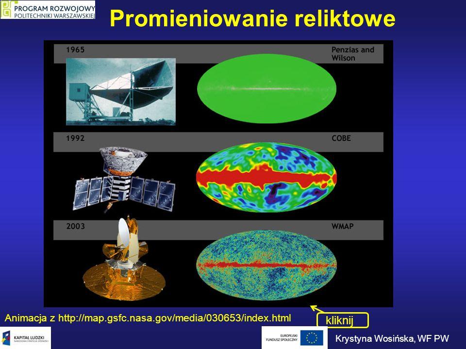 Eksperyment WMAP Sonda kosmiczna wystrzelona 30.06.2001 roku Pomiar promieniowania mikrofalowego w 5 przedziałach częstości: od 23 GHz (13 mm) do 94 GHz (3,2 mm).