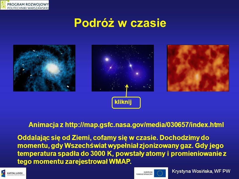 Podróż w czasie Animacja z http://map.gsfc.nasa.gov/media/030657/index.html kliknij Oddalając się od Ziemi, cofamy się w czasie. Dochodzimy do momentu