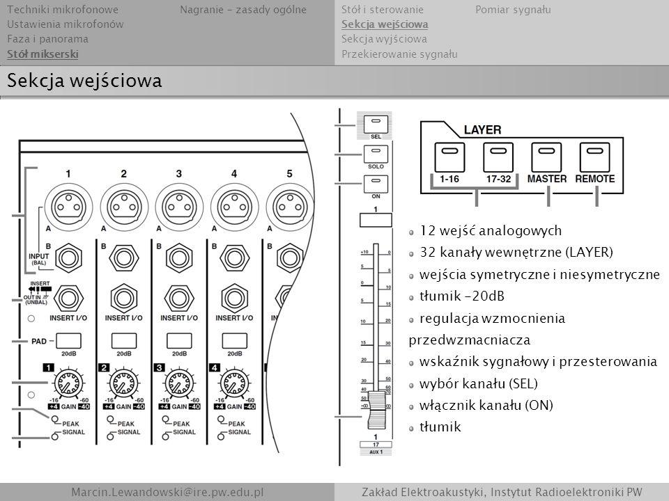 Sekcja wejściowa Marcin.Lewandowski@ire.pw.edu.plZakład Elektroakustyki, Instytut Radioelektroniki PW 12 wejść analogowych 32 kanały wewnętrzne (LAYER
