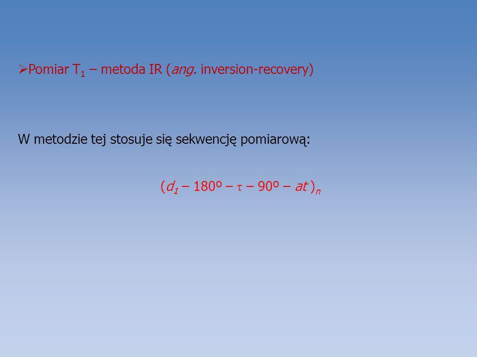 Pomiar T 1 – metoda IR (ang. inversion-recovery) W metodzie tej stosuje się sekwencję pomiarową: (d 1 – 180º – – 90º – at ) n