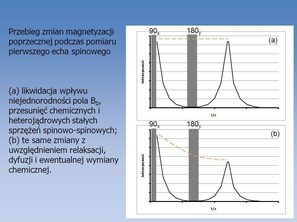 Przebieg zmian magnetyzacji poprzecznej podczas pomiaru pierwszego echa spinowego (a) likwidacja wpływu niejednorodności pola B 0, przesunięć chemiczn