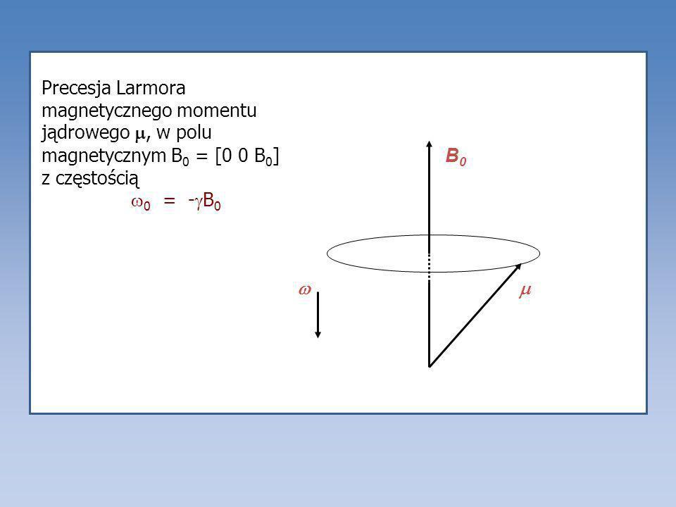 Precesja Larmora magnetycznego momentu jądrowego, w polu magnetycznym B 0 = [0 0 B 0 ] z częstością 0 = - B 0 B0B0