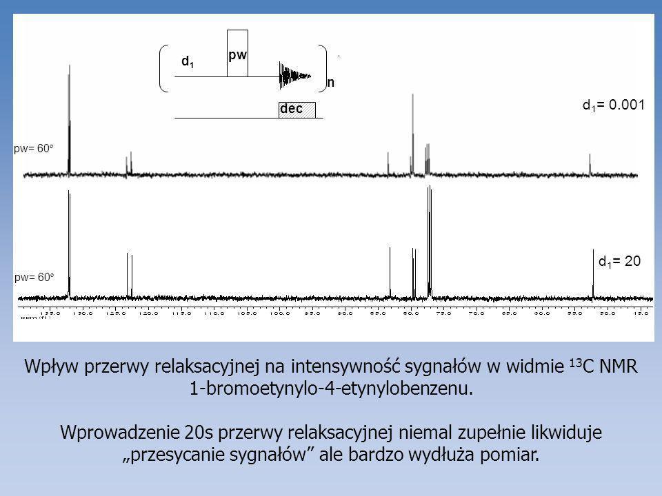 Widma 13 C 1-bromoetynylo-4-etynylobenzenu z zastosowaniem podczas pomiaru różnych sposobów zaburzania magnetyzacji protonów: (a) pełne odsprzęganie 13 C[ 1 H] z wykorzystaniem efektu Overhausera; (b) bramkowane odsprzęganie 13 C[ 1 H] z supresją efektu Overhausera; (c) Widmo 13 C NMR z zachowaniem sprzężeń z 1 H i z wykorzystaniem efektu Overhausera.