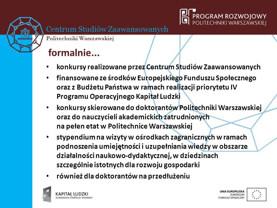 Centrum Studiów Zaawansowanych Politechniki Warszawskiej formalnie... konkursy realizowane przez Centrum Studiów Zaawansowanych finansowane ze środków