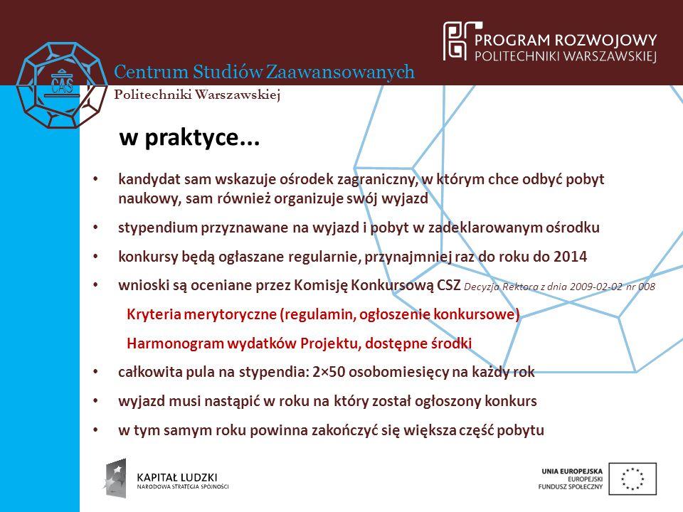 Centrum Studiów Zaawansowanych Politechniki Warszawskiej w praktyce... kandydat sam wskazuje ośrodek zagraniczny, w którym chce odbyć pobyt naukowy, s