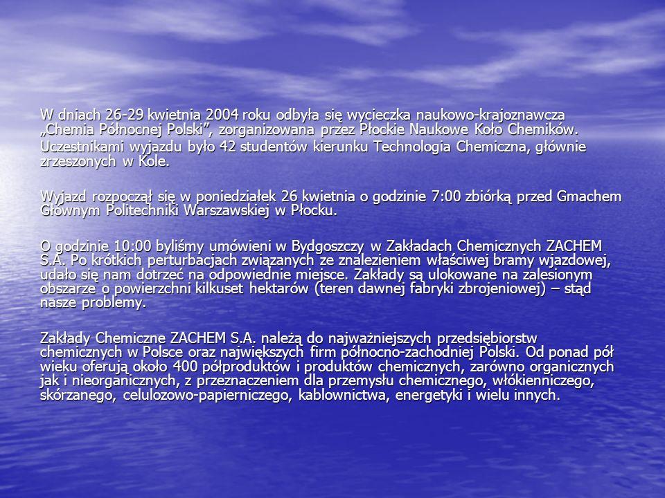 Większość związków chemicznych produkowanych w ZACHEMIE S.A.