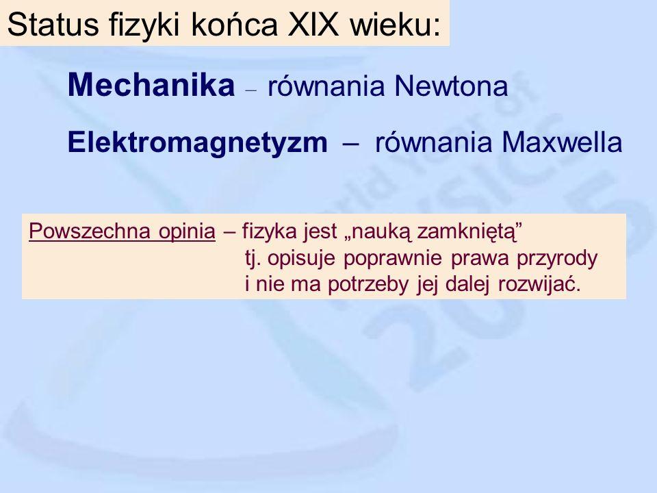 Status fizyki końca XIX wieku: Mechanika – równania Newtona Elektromagnetyzm – równania Maxwella Powszechna opinia – fizyka jest nauką zamkniętą tj.